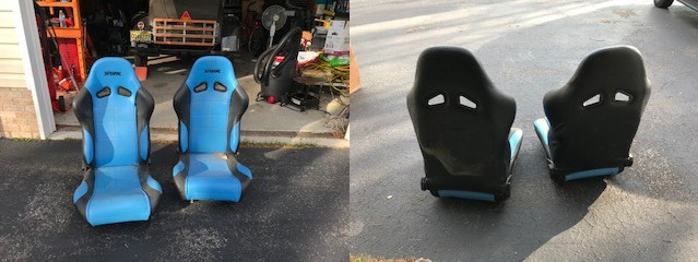 Front and back of racing seats